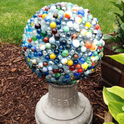 From beat up bowling ball to sparkly garden art