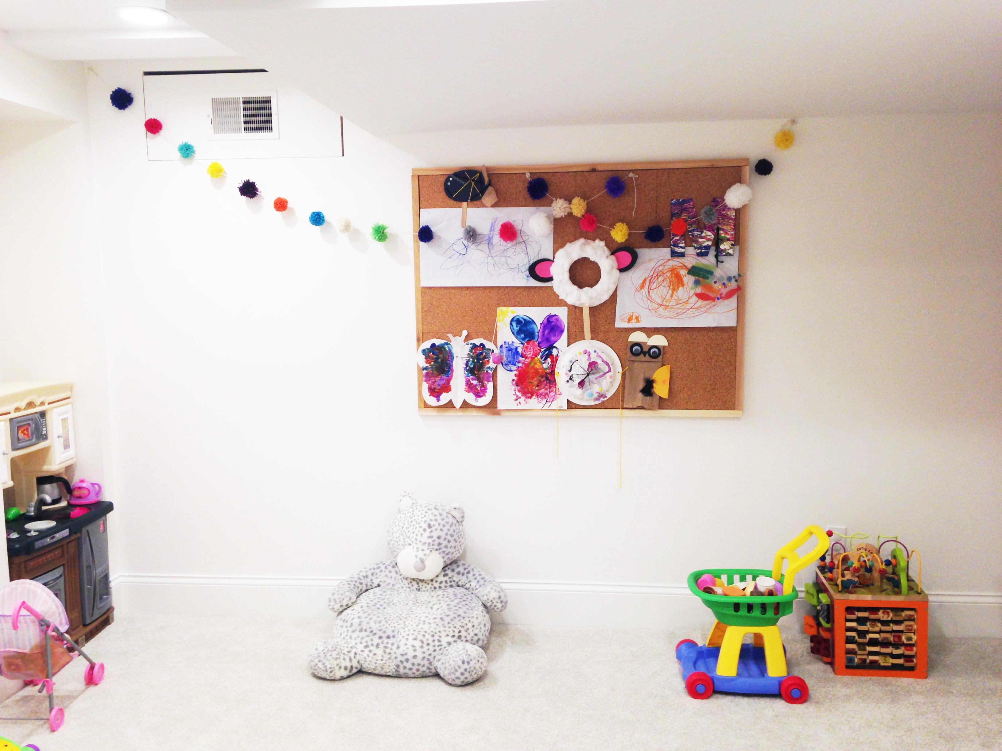 Making a giant cork board for kid's artwork