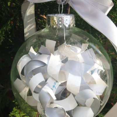 How to turn a wedding invitation into an ornament